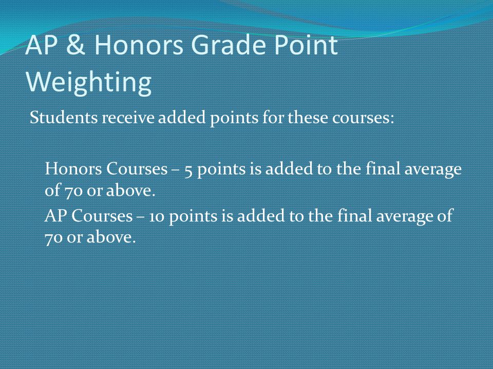 AP & Honors Grade Point Weighting