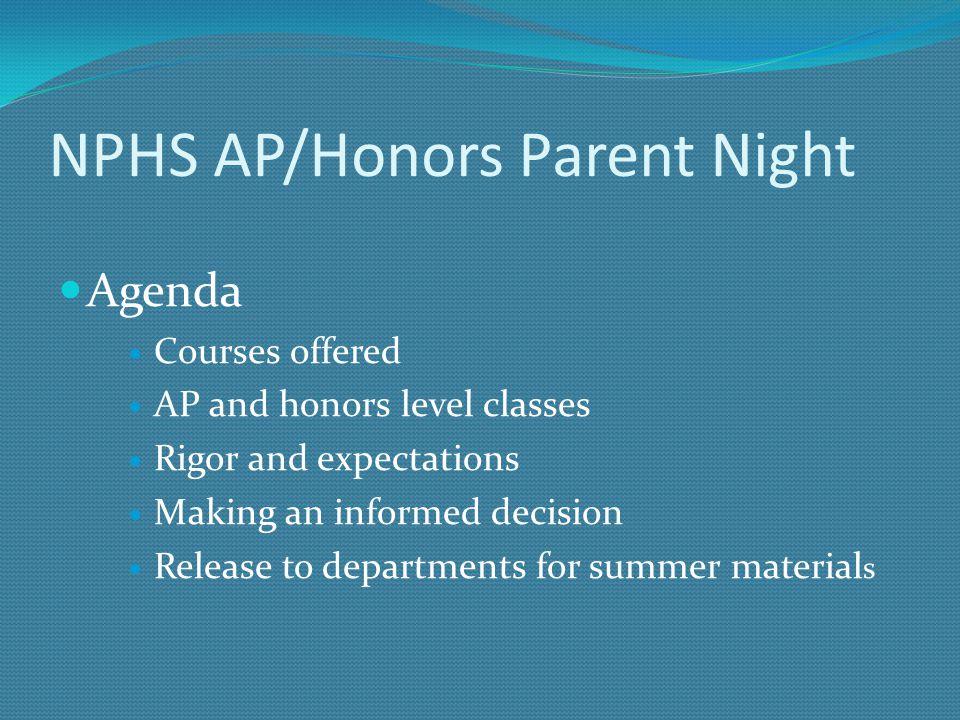NPHS AP/Honors Parent Night