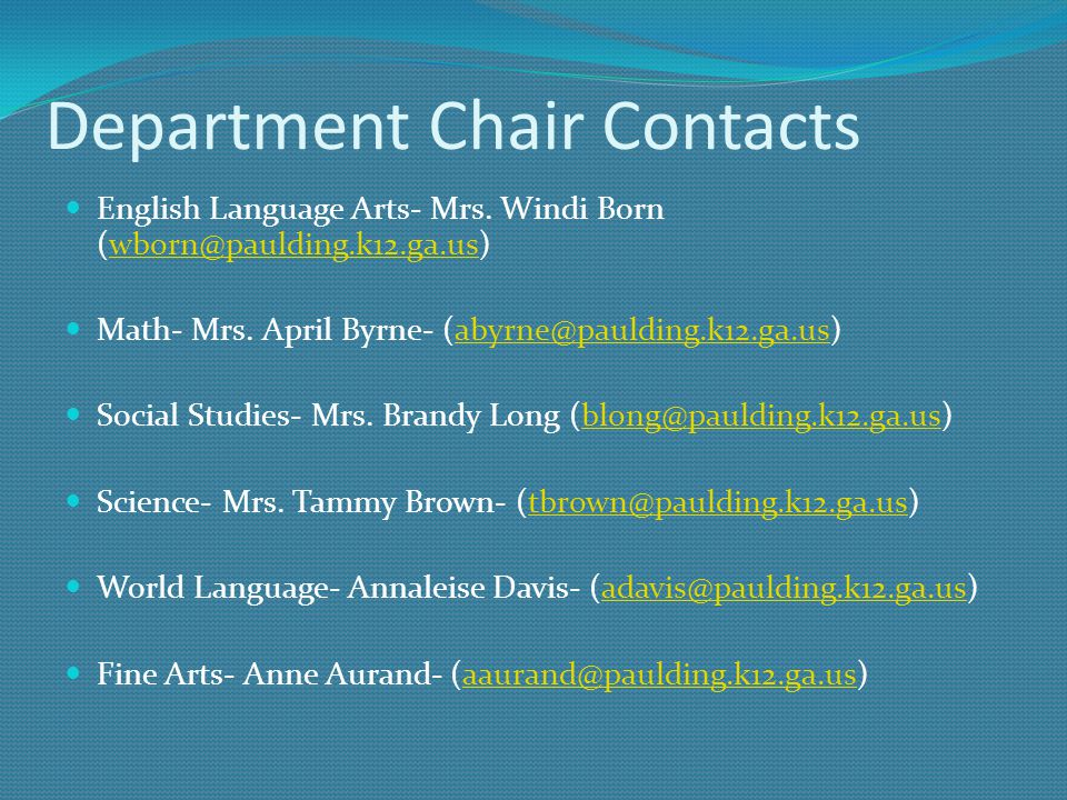 Department Chair Contacts