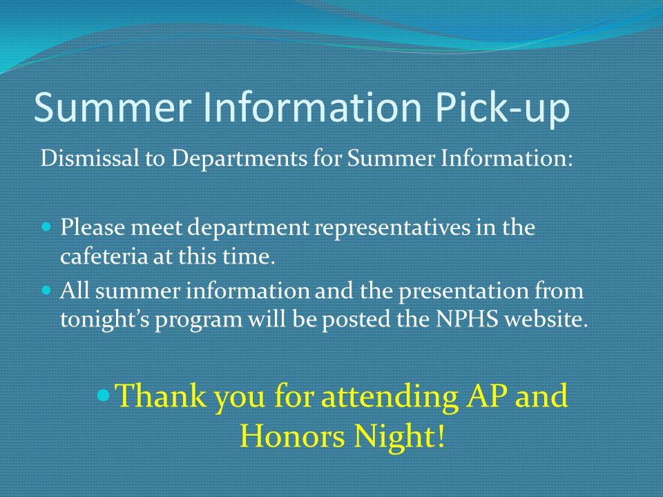 Summer Information Pick-up