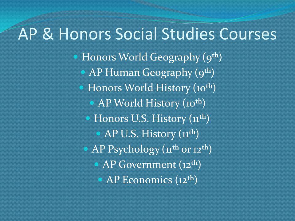 AP & Honors Social Studies Courses