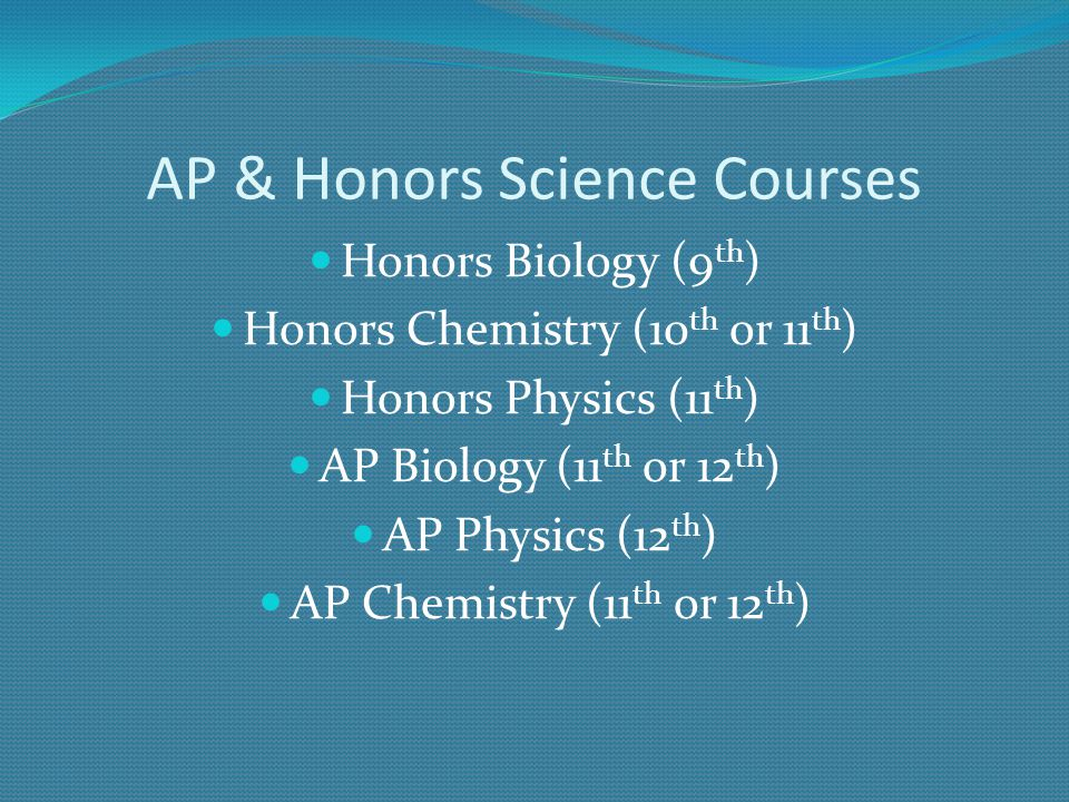 AP & Honors Science Courses