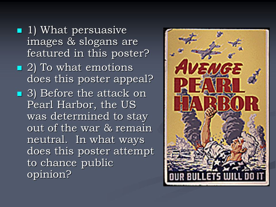 1) What persuasive images & slogans are featured in this poster