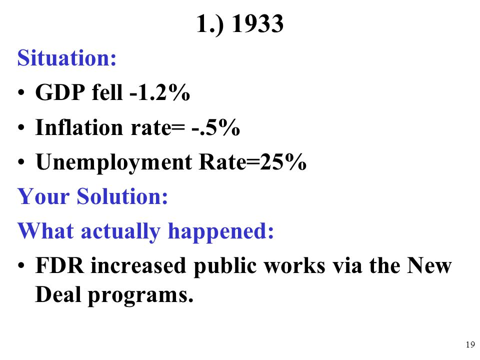 1.) 1933 Situation: GDP fell -1.2% Inflation rate= -.5%