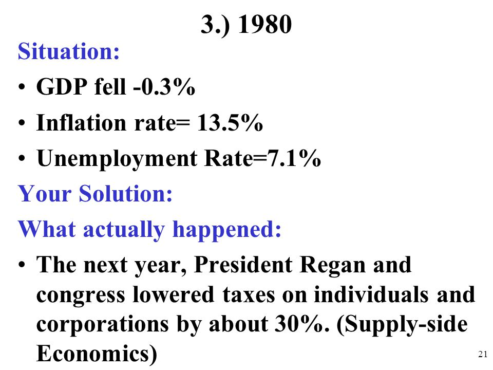 3.) 1980 Situation: GDP fell -0.3% Inflation rate= 13.5%