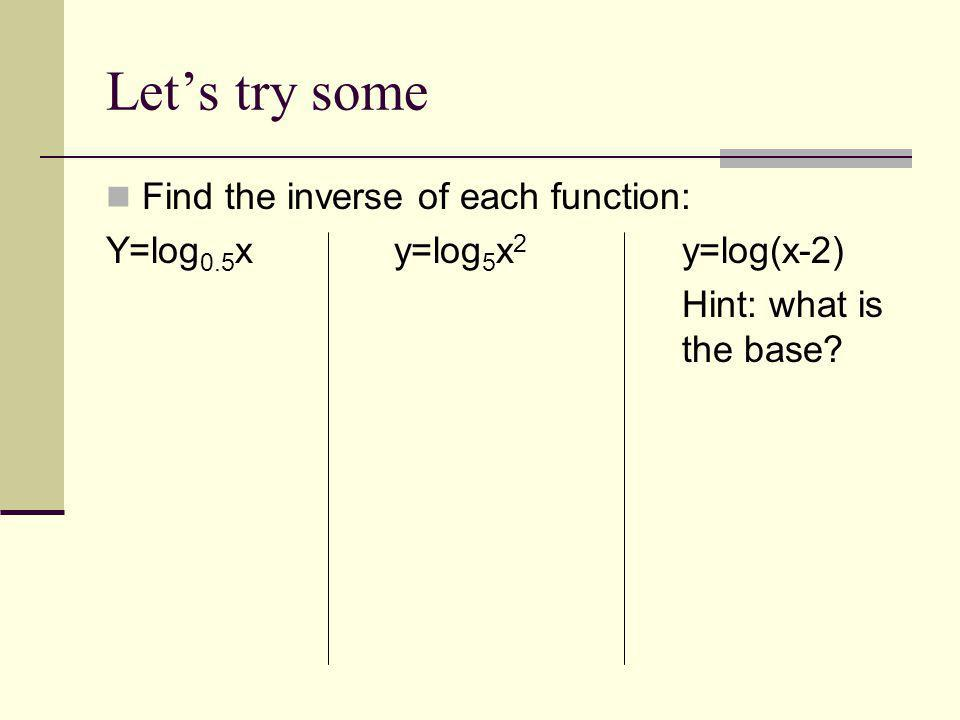Let's try some Find the inverse of each function: