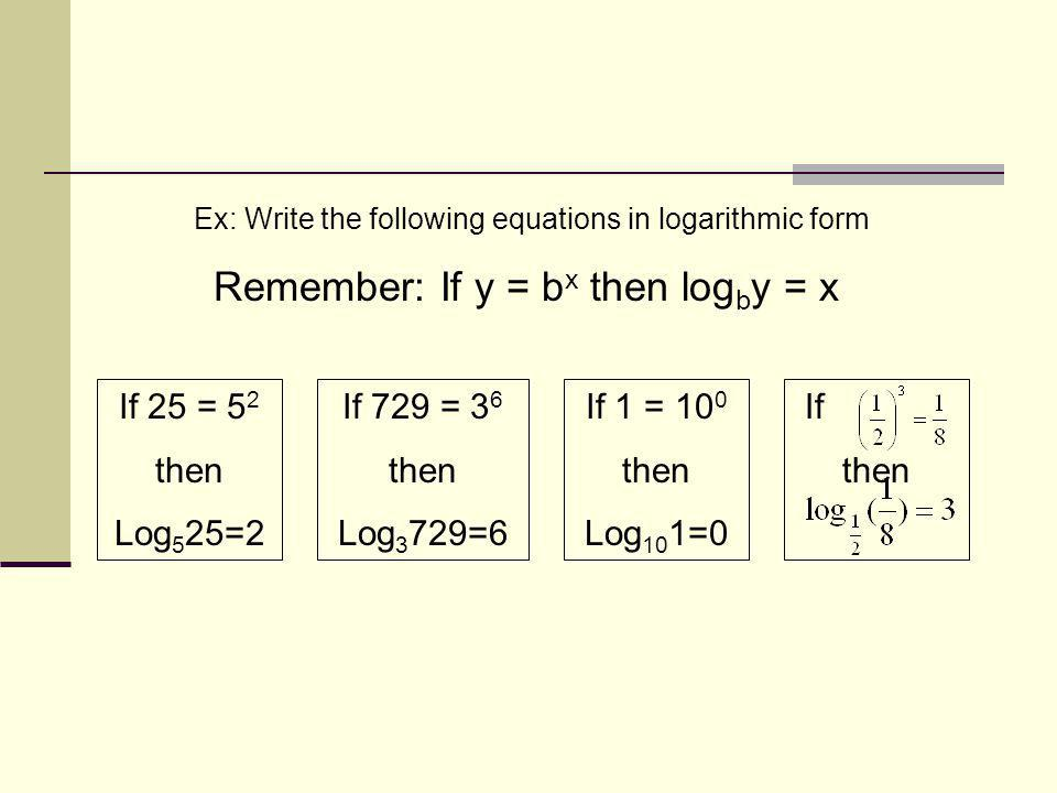 Remember: If y = bx then logby = x