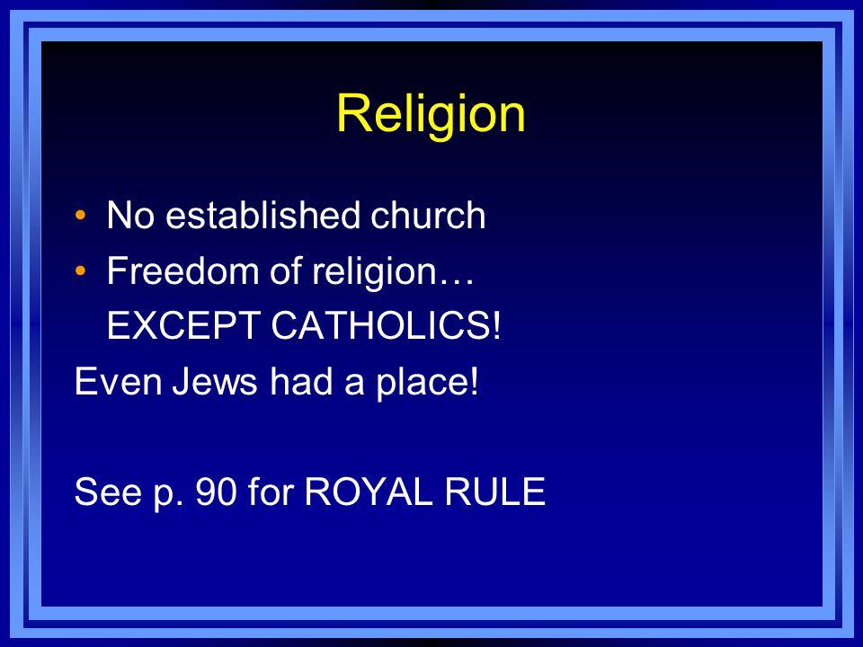 Religion No established church Freedom of religion… EXCEPT CATHOLICS!
