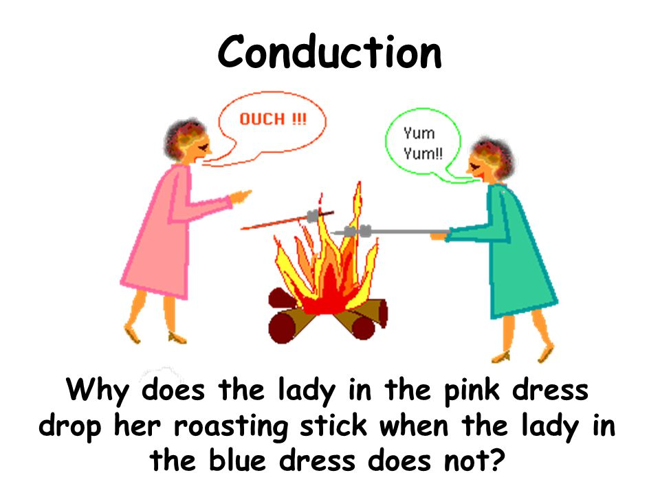 Conduction Why does the lady in the pink dress drop her roasting stick when the lady in the blue dress does not