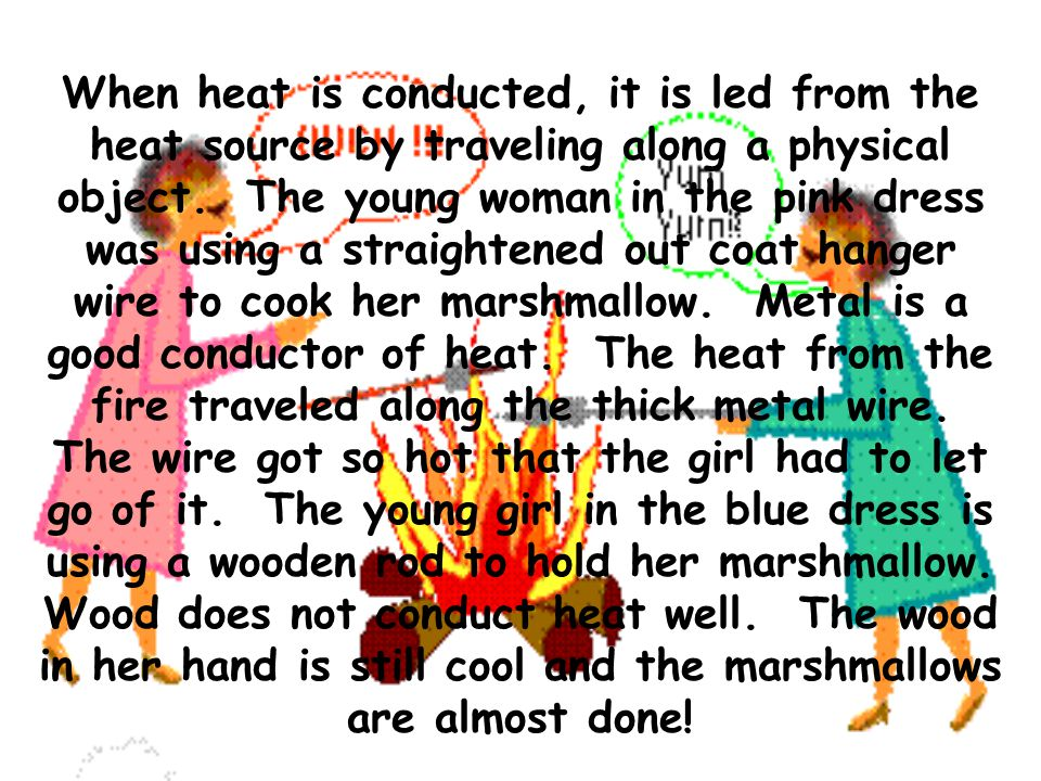 When heat is conducted, it is led from the heat source by traveling along a physical object.