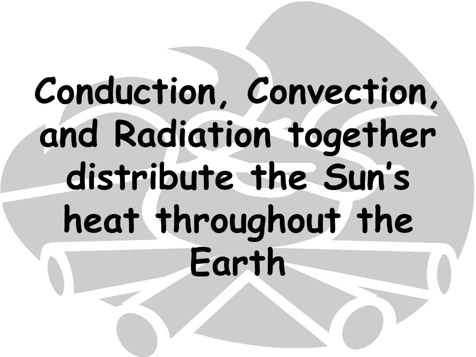 Conduction, Convection, and Radiation together distribute the Sun's heat throughout the Earth