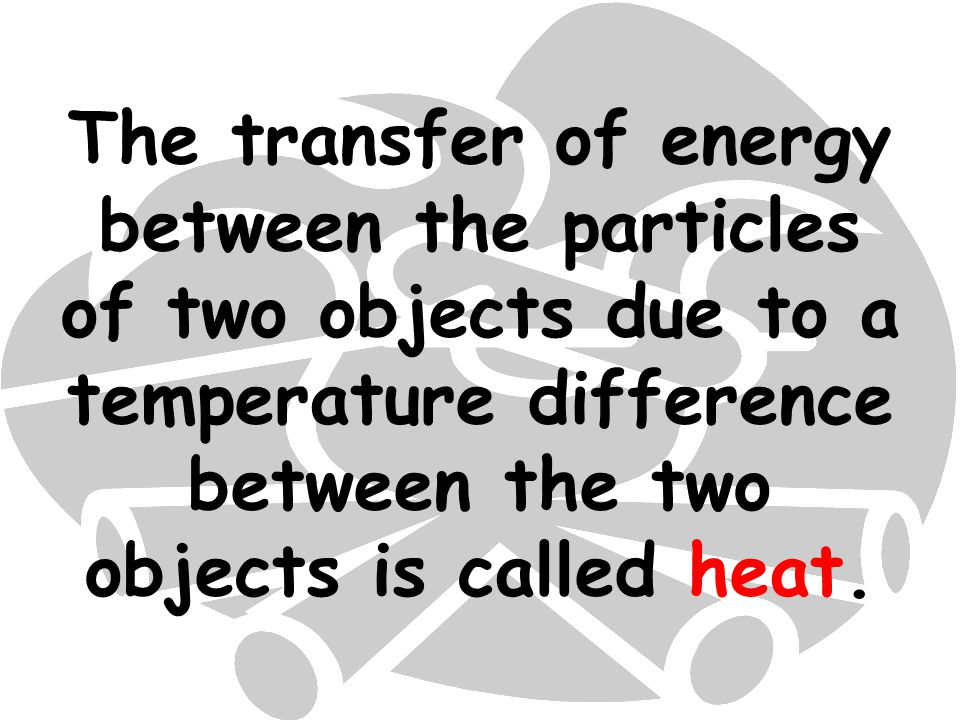 The transfer of energy between the particles of two objects due to a temperature difference between the two objects is called heat.