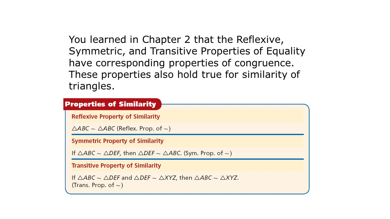 You learned in Chapter 2 that the Reflexive, Symmetric, and Transitive Properties of Equality have corresponding properties of congruence.