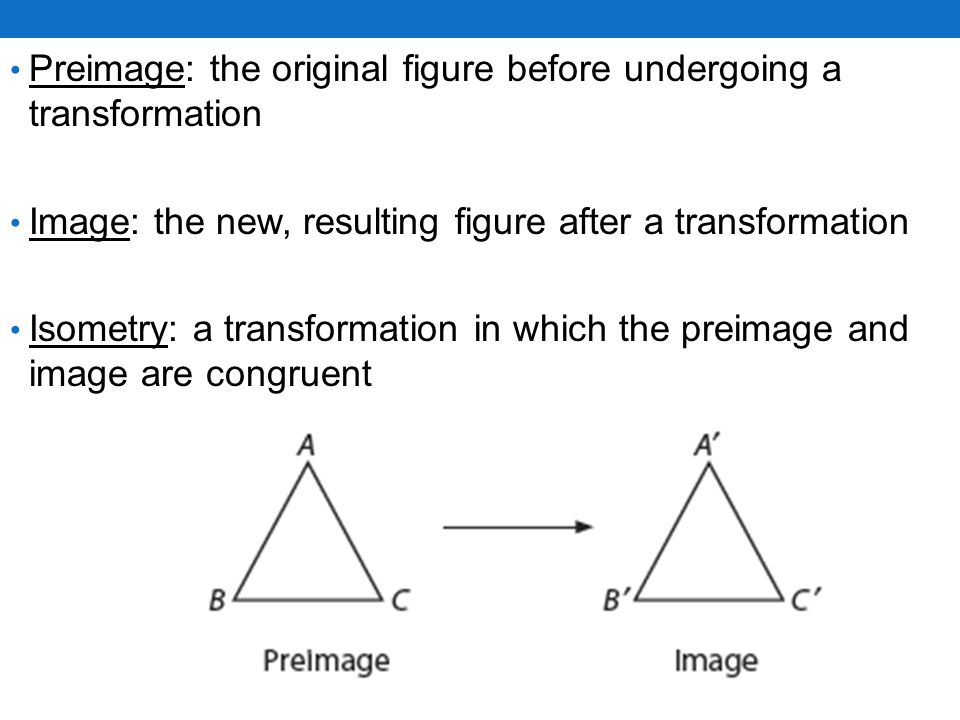 Preimage: the original figure before undergoing a transformation