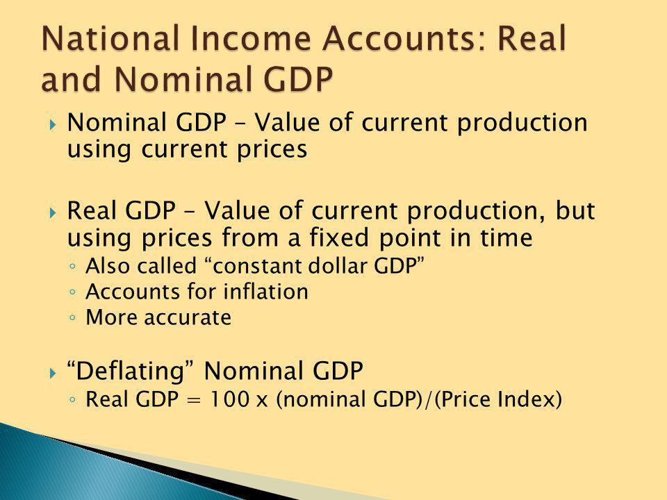 National Income Accounts: Real and Nominal GDP