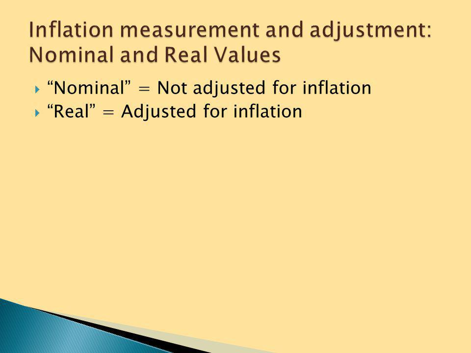 Inflation measurement and adjustment: Nominal and Real Values