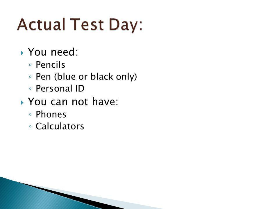 Actual Test Day: You need: You can not have: Pencils