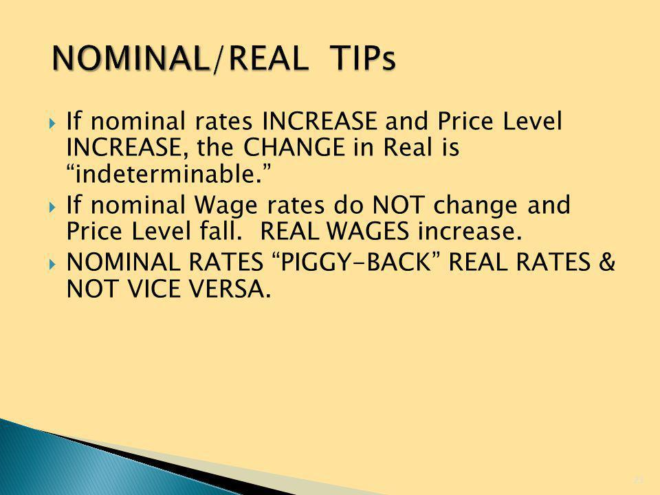 NOMINAL/REAL TIPs If nominal rates INCREASE and Price Level INCREASE, the CHANGE in Real is indeterminable.