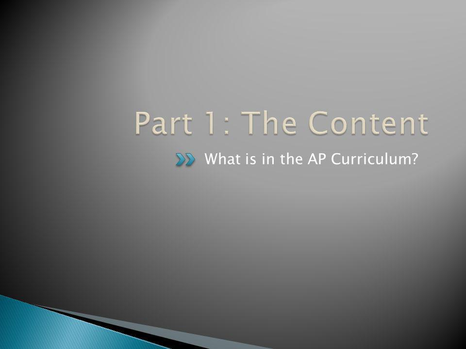 Part 1: The Content What is in the AP Curriculum