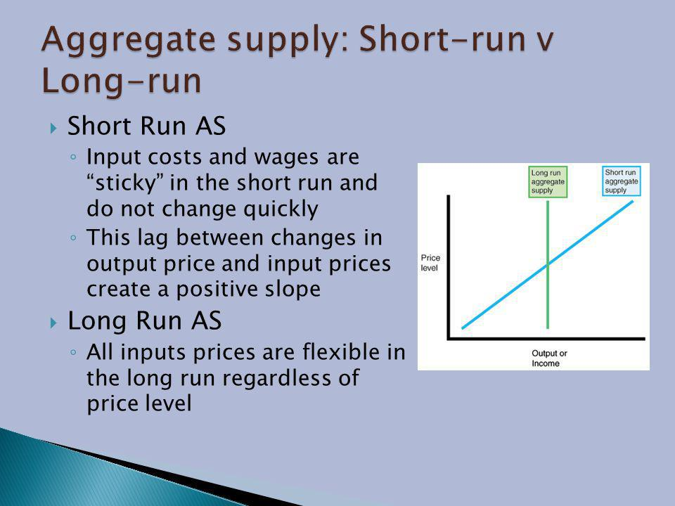 Aggregate supply: Short-run v Long-run