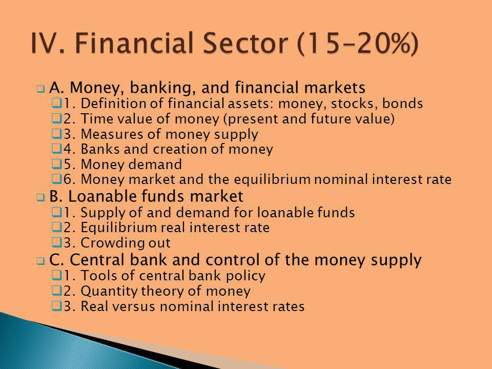 IV. Financial Sector (15–20%)