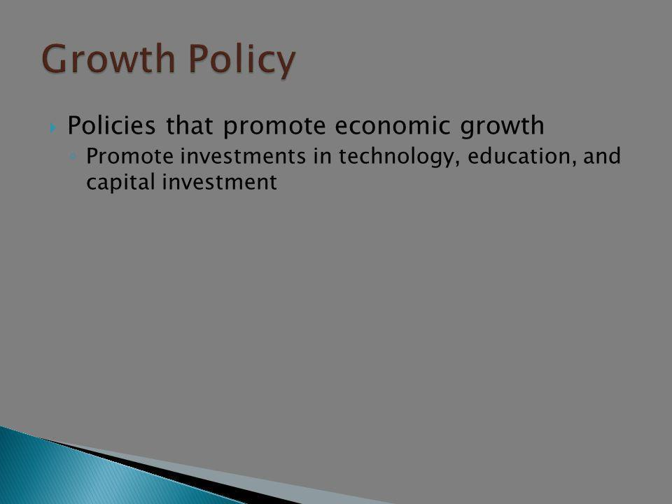 Growth Policy Policies that promote economic growth