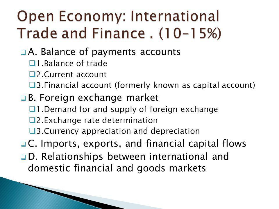 Open Economy: International Trade and Finance . (10–15%)