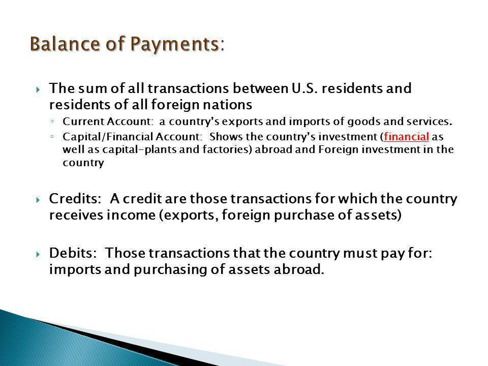 Balance of Payments: The sum of all transactions between U.S. residents and residents of all foreign nations.