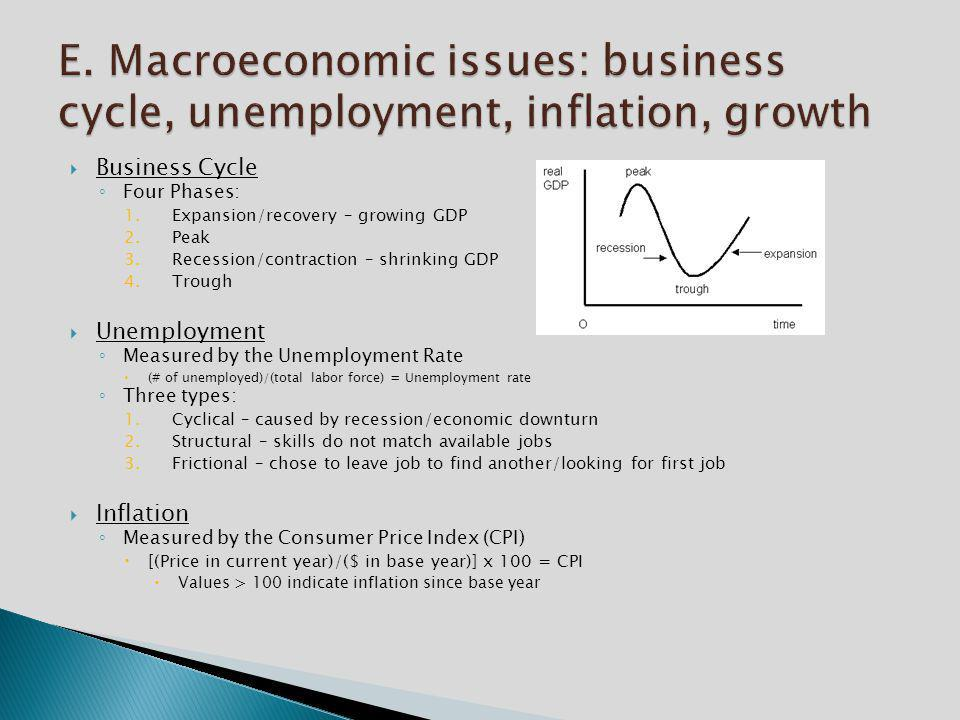 E. Macroeconomic issues: business cycle, unemployment, inflation, growth