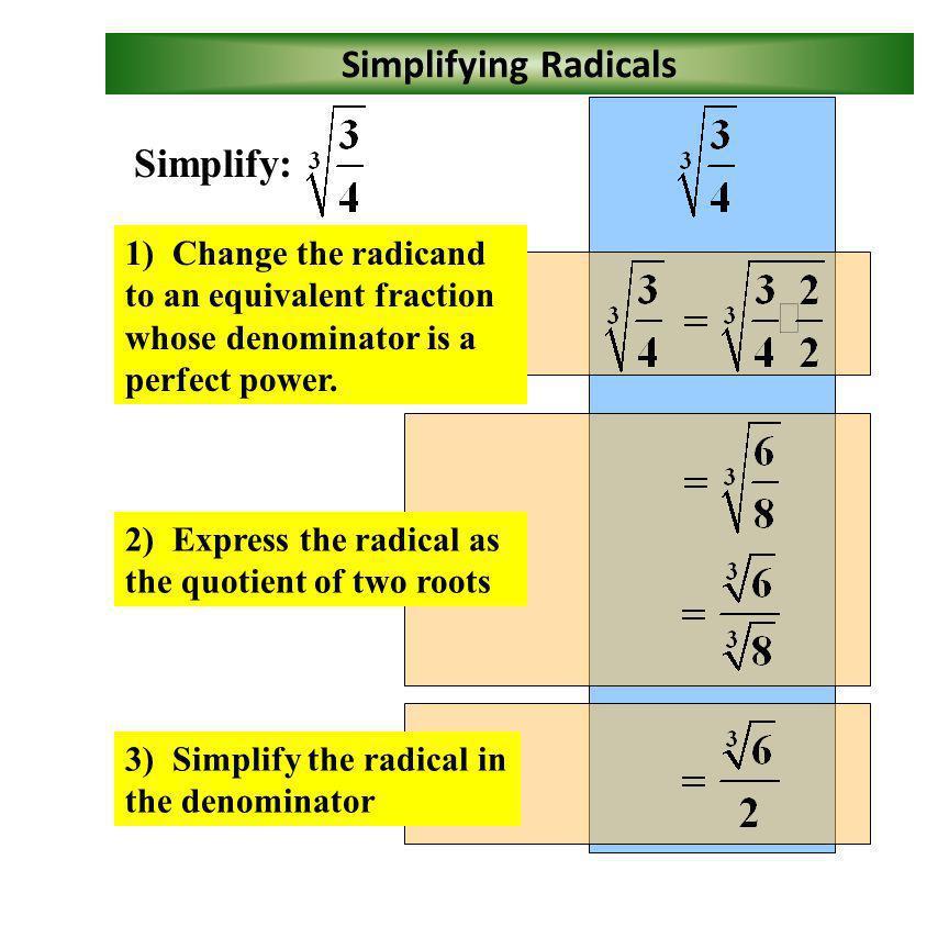 Simplifying Radicals Simplify: