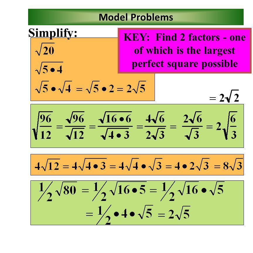 Simplify: Model Problems