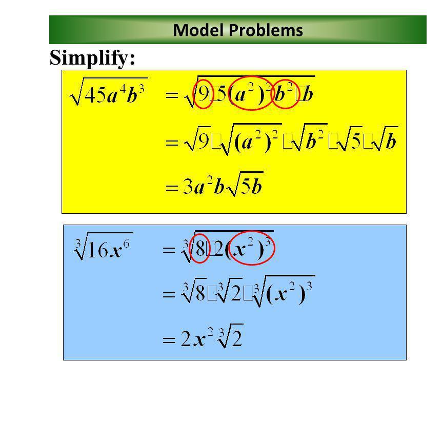 Model Problems Simplify: