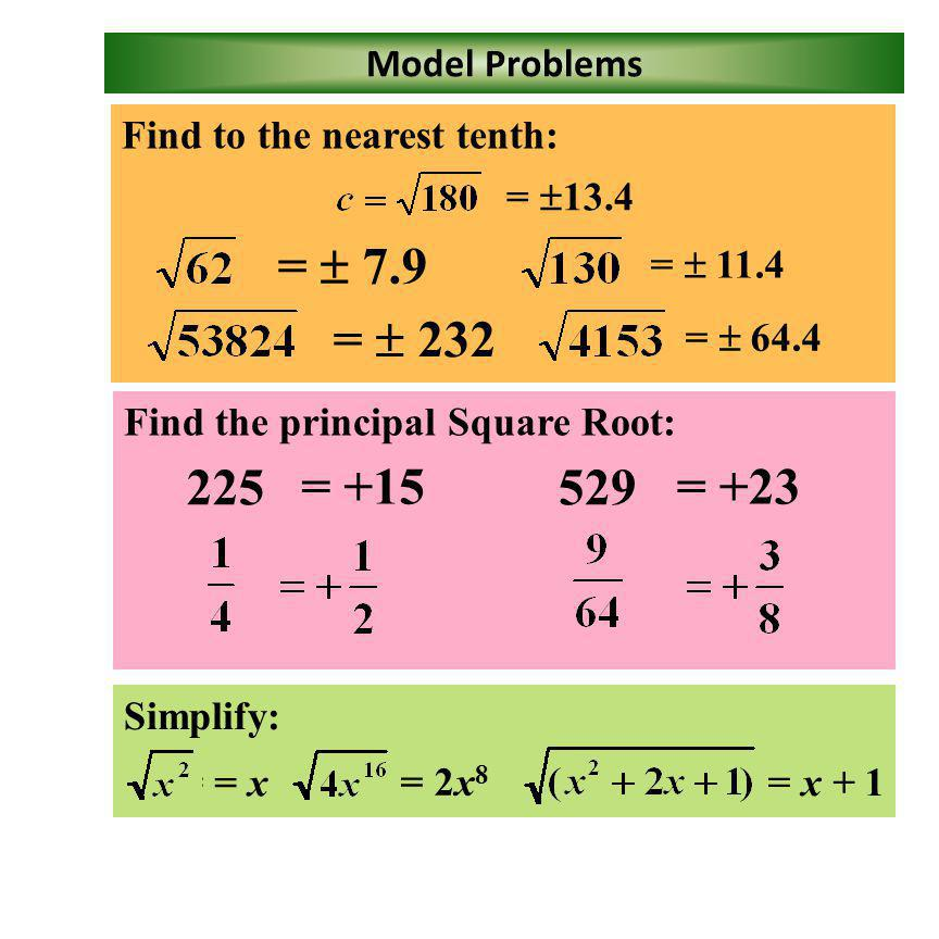 =  7.9 =  = = +23 Model Problems