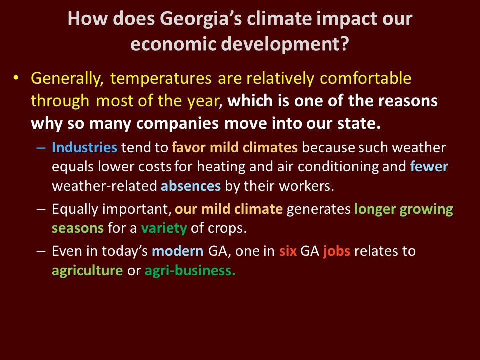 How does Georgia's climate impact our economic development