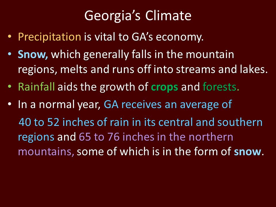 Georgia's Climate Precipitation is vital to GA's economy.