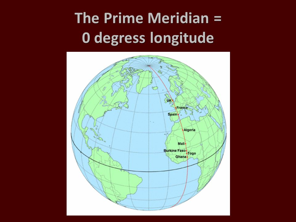 The Prime Meridian = 0 degress longitude