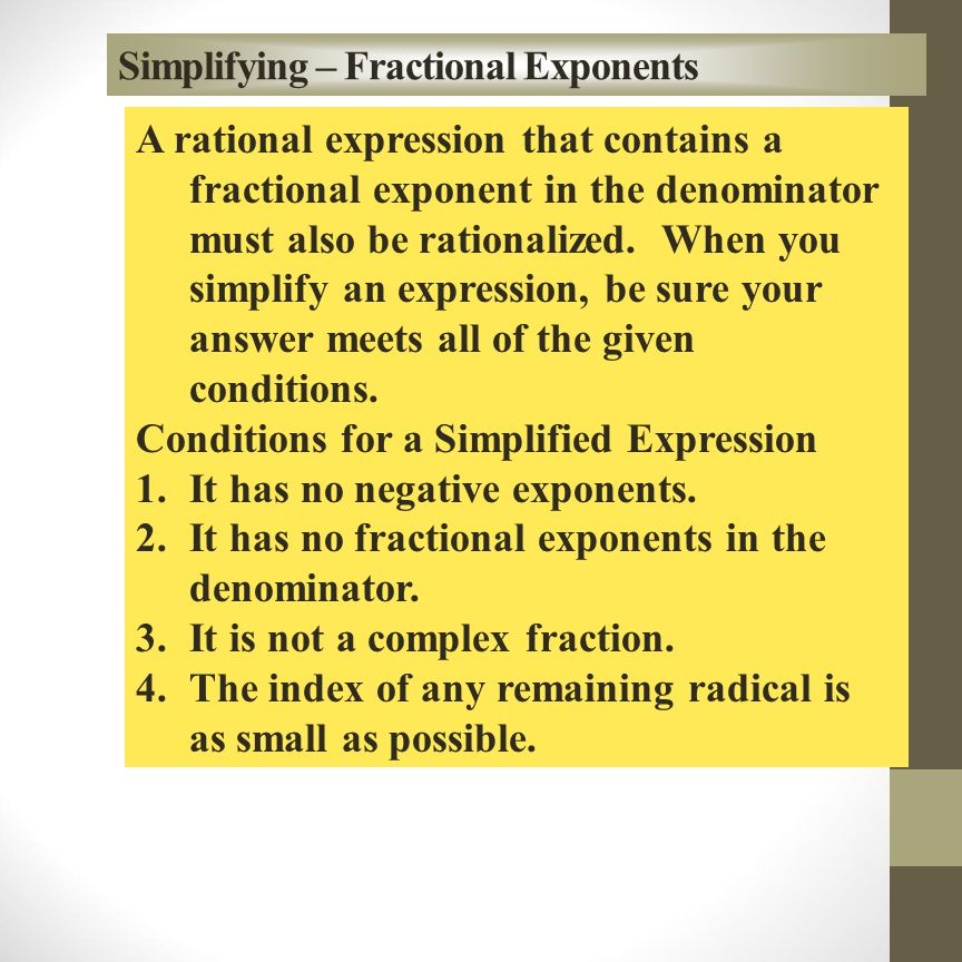 Simplifying – Fractional Exponents
