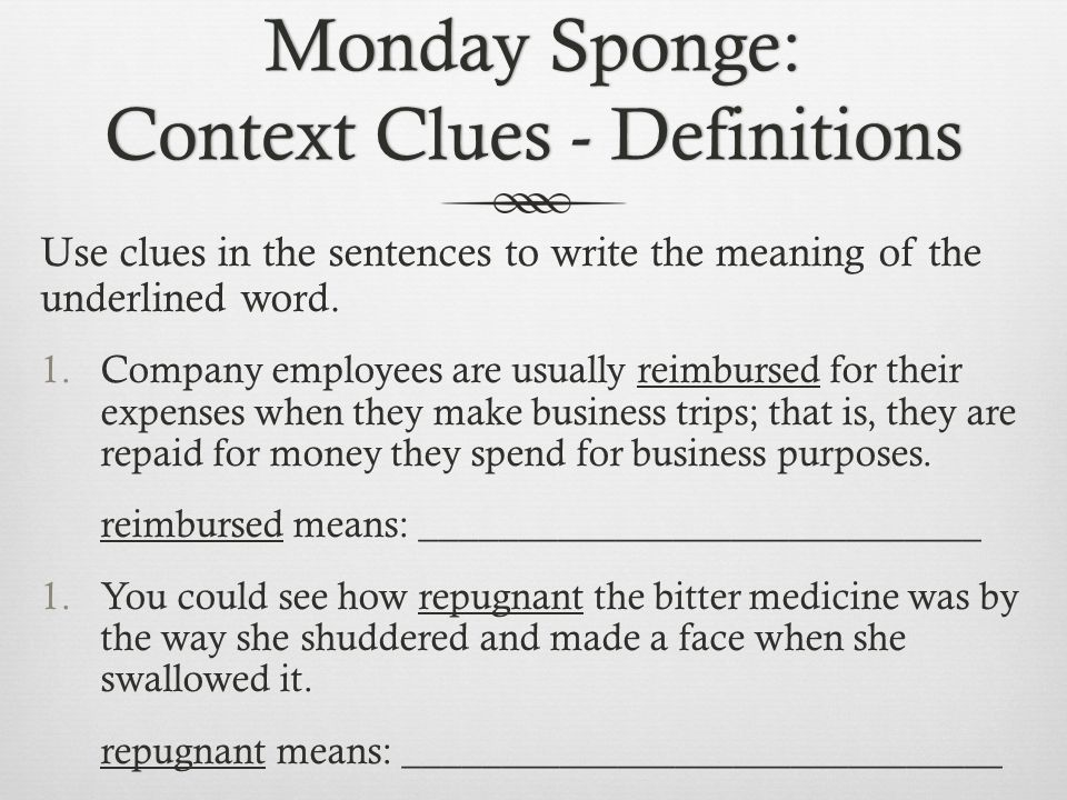 Monday Sponge: Context Clues - Definitions