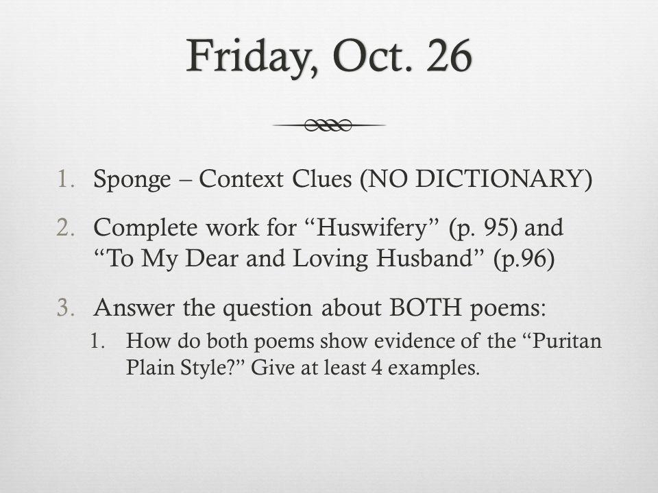 Friday, Oct. 26 Sponge – Context Clues (NO DICTIONARY)