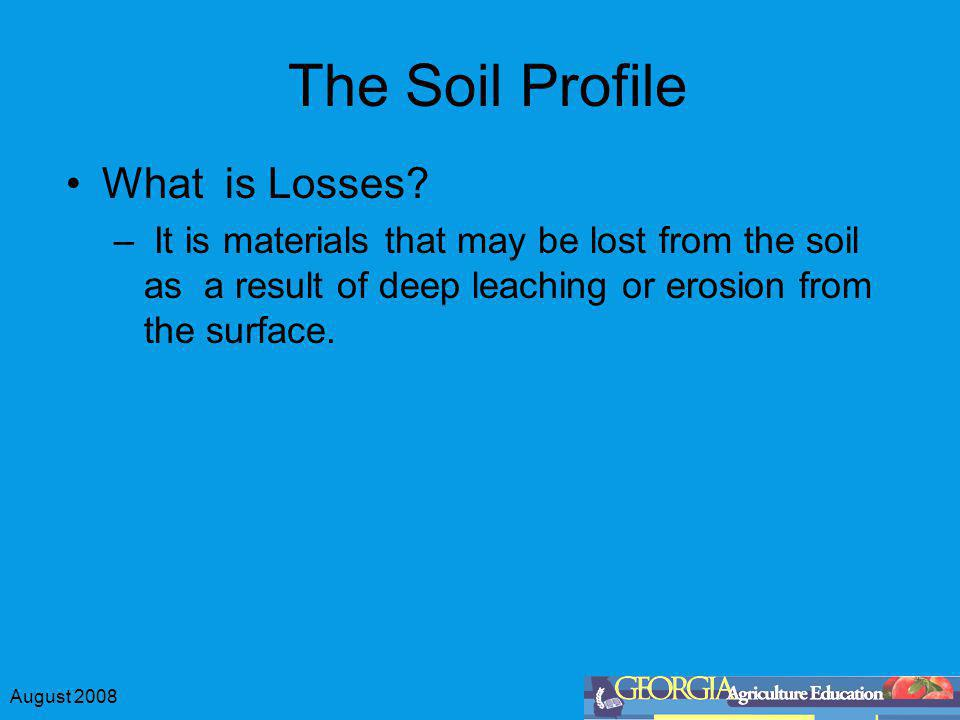 The Soil Profile What is Losses
