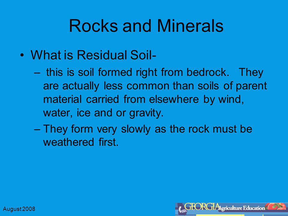 Rocks and Minerals What is Residual Soil-