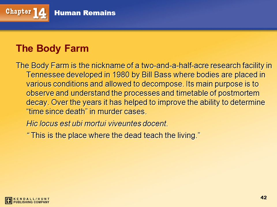 Chapter 12 Chapter 12. The Body Farm.
