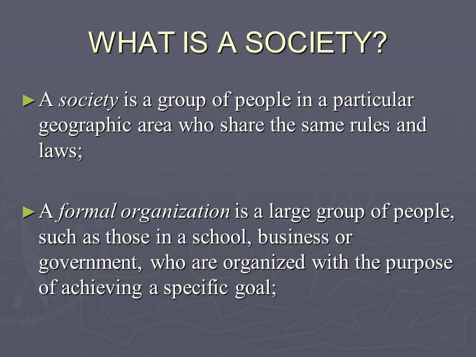WHAT IS A SOCIETY A society is a group of people in a particular geographic area who share the same rules and laws;