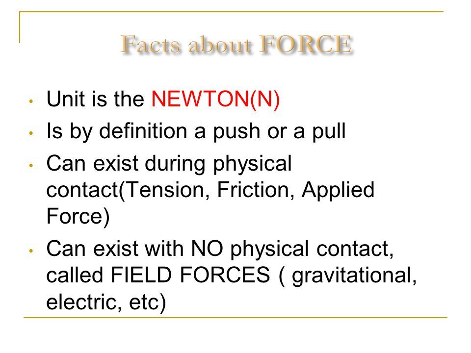 Facts about FORCE Unit is the NEWTON(N)