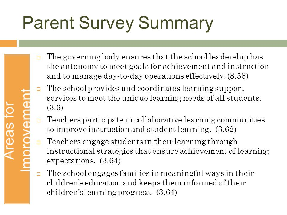 Parent Survey Summary Areas for Improvement