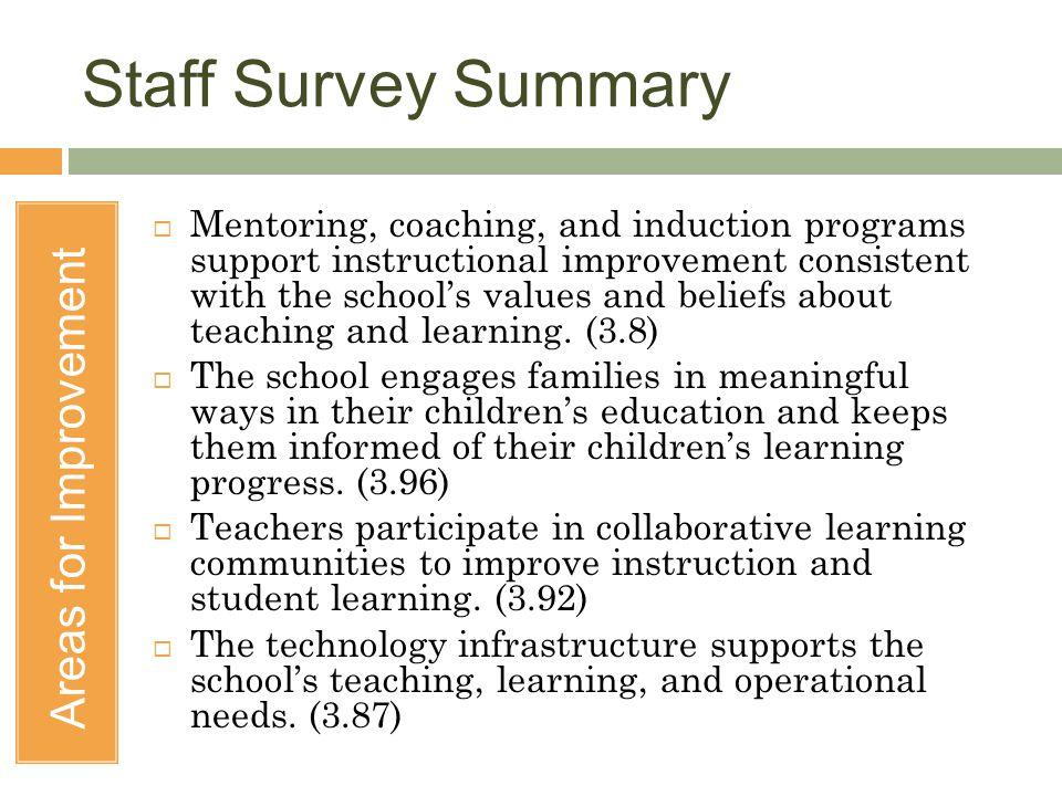 Staff Survey Summary Areas for Improvement