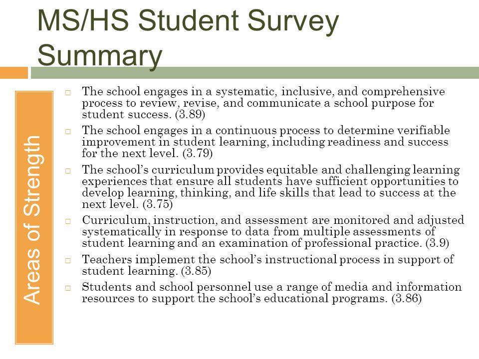 MS/HS Student Survey Summary