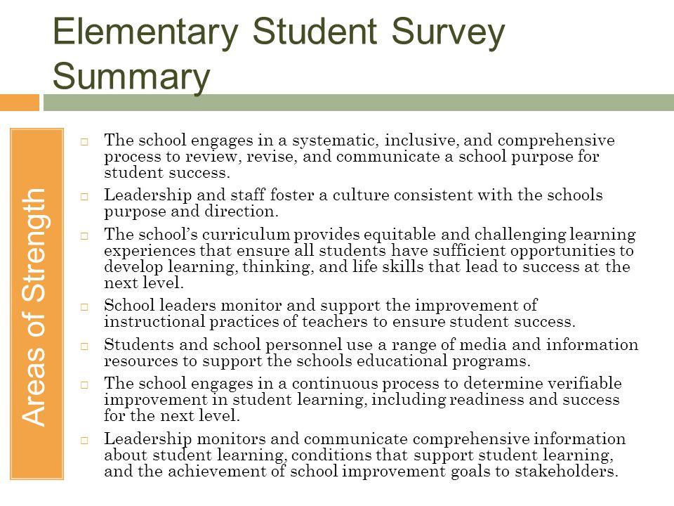 Elementary Student Survey Summary