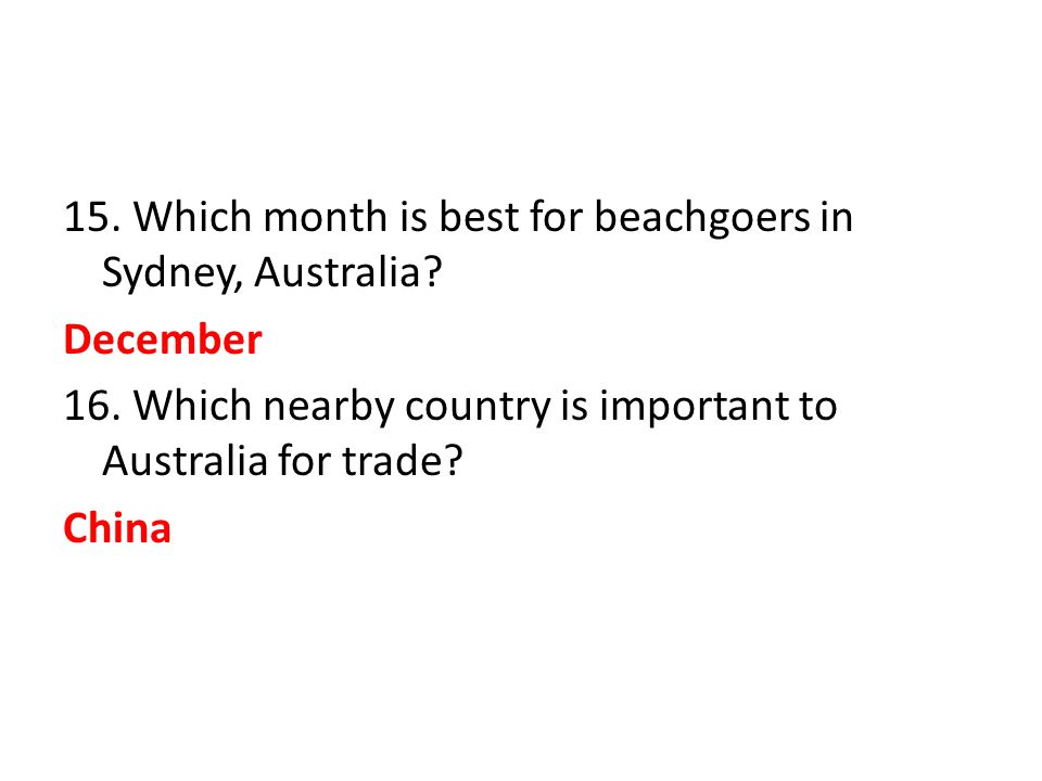 15. Which month is best for beachgoers in Sydney, Australia