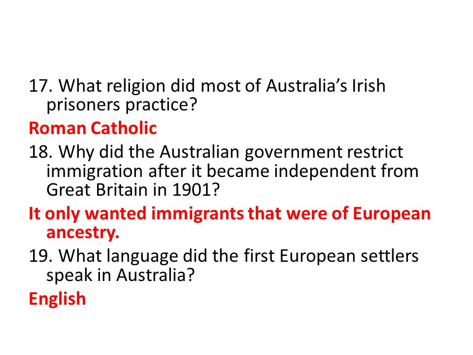 17. What religion did most of Australia's Irish prisoners practice